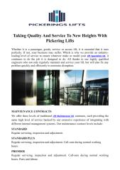 Taking Quality And Service To New Heights With Pickering Lifts.PDF